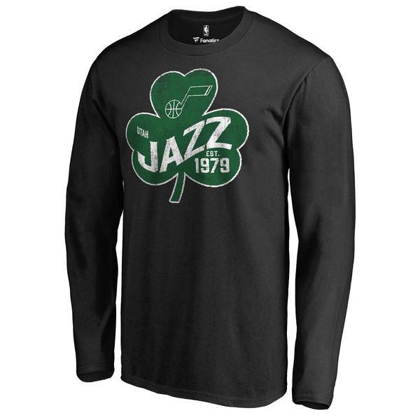 Utah Jazz Fanatics Branded Black Big & Tall St. Patrick's Day Paddy's Pride Long Sleeve T-Shirt