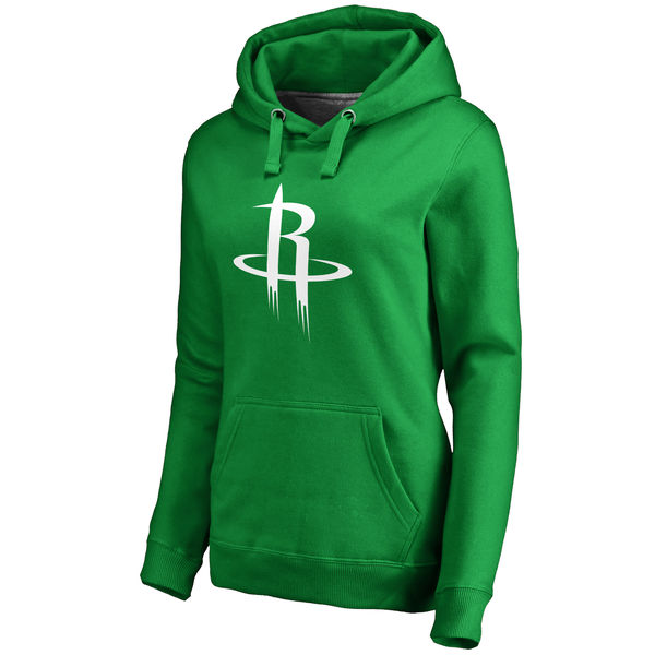 Houston Rockets Fanatics Branded Women's Kelly Green St. Patrick's Day White Logo Pullover Hoodie