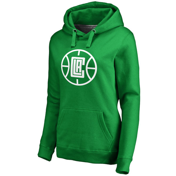 LA Clippers Fanatics Branded Women's Kelly Green St. Patrick's Day White Logo Pullover Hoodie