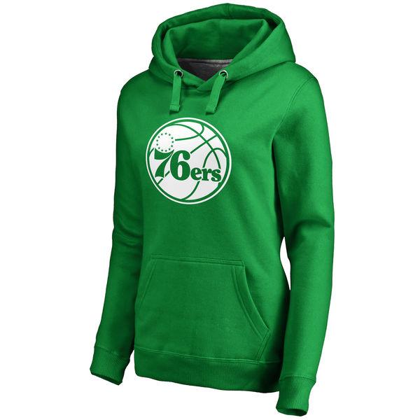 Philadelphia 76ers Fanatics Branded Women's Kelly Green St. Patrick's Day White Logo Pullover Hoodie