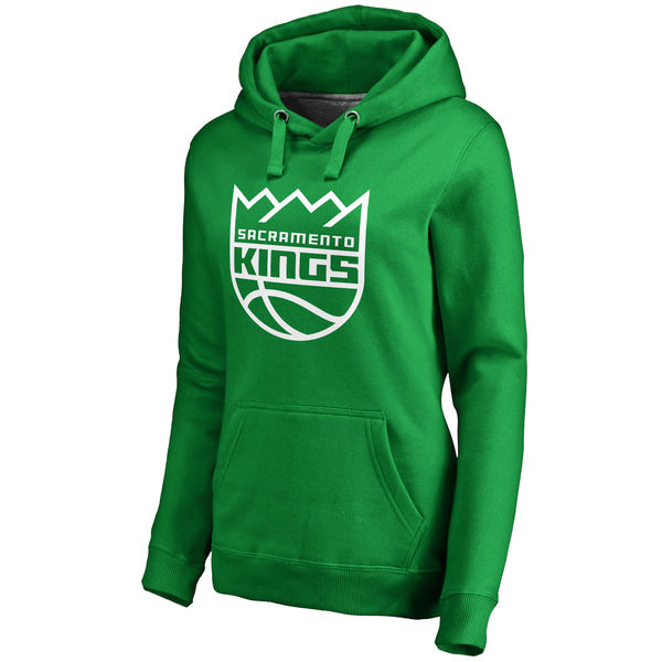 Sacramento Kings Fanatics Branded Women's Kelly Green St. Patrick's Day White Logo Pullover Hoodie