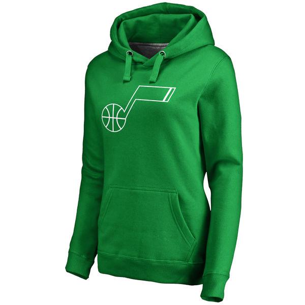 Utah Jazz Fanatics Branded Women's Kelly Green St. Patrick's Day White Logo Pullover Hoodie