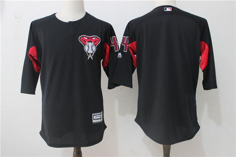 Diamondbacks Majestic Black Red On Field 3/4 Sleeve Batting Practice Jersey