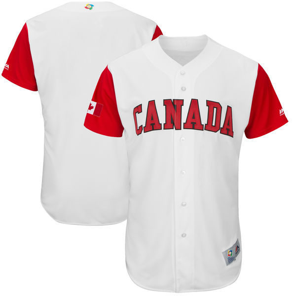 Men's Canada Baseball Majestic White 2017 World Baseball Classic Authentic Team Jersey