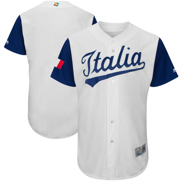 Men's Italy Baseball Majestic White 2017 World Baseball Classic Authentic Team Jersey