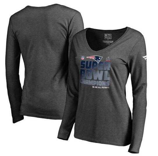 New England Patriots Pro Line by Fanatics Branded Women's Super Bowl LI Champions Trophy Collection Locker Room V Neck Long Sleeve T-Shirt Charcoal