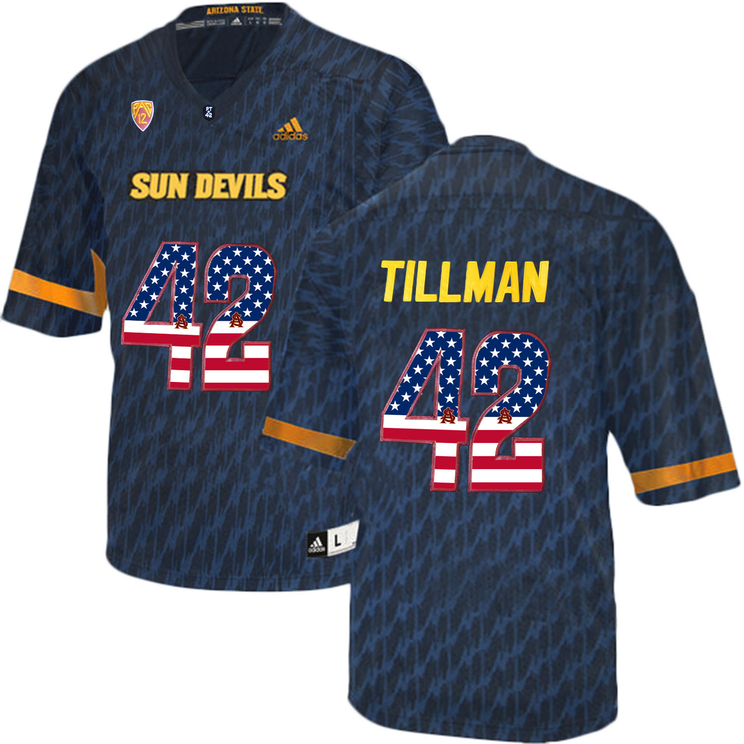 Arizona State Sun Devils 42 Pat Tillman Black USA Flag College Football Jersey