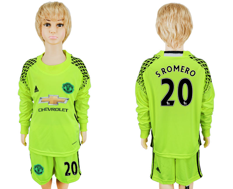 2016-17 Manchester United 20 S.ROMERO Fluorescent Green Youth Goalkeeper Long Sleeve Soccer Jersey