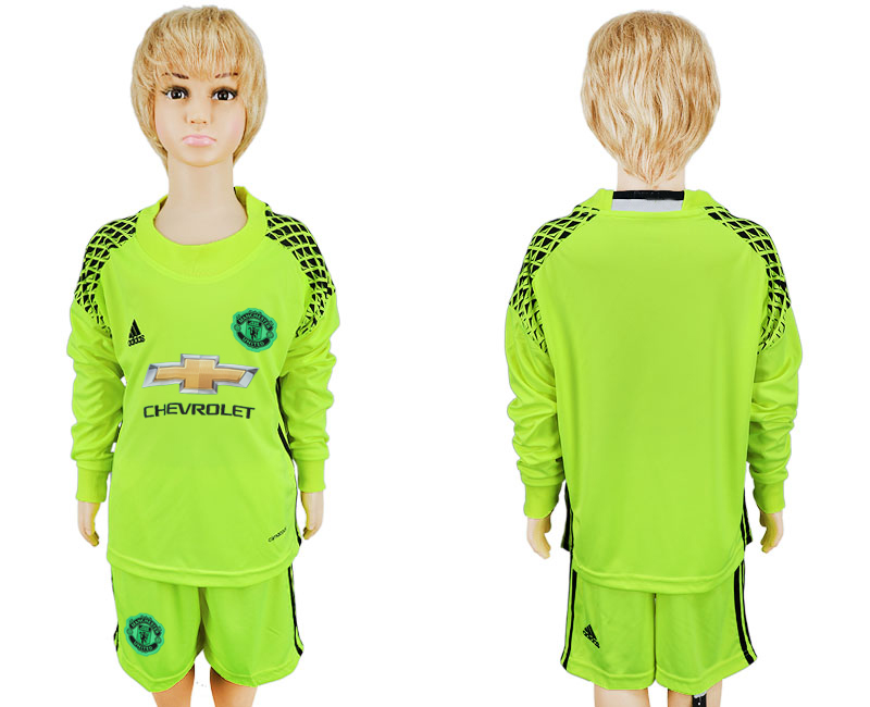 2016-17 Manchester United Fluorescent Green Youth Goalkeeper Long Sleeve Soccer Jersey