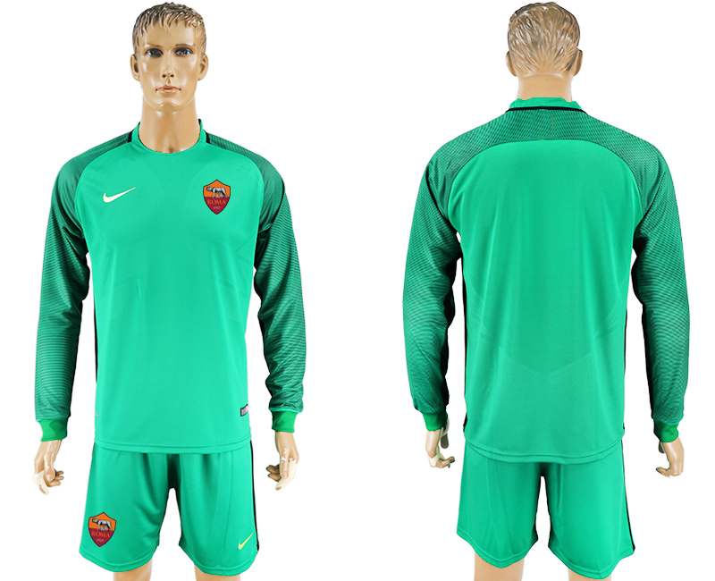 2016-17 Roma Green Goalkeeper Long Sleeve Soccer Jersey
