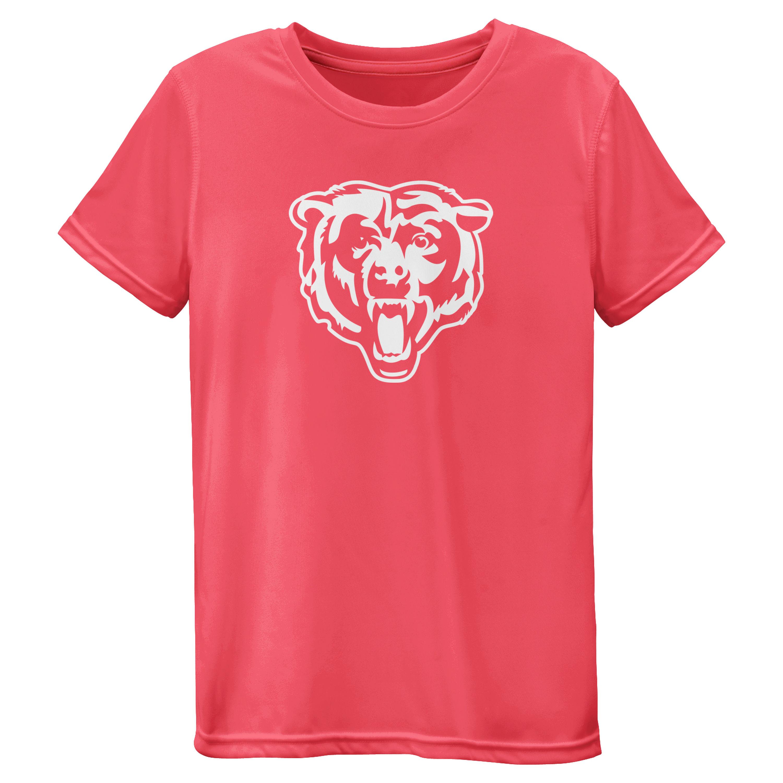 Chicago Bears Girls Youth Pink Neon Logo T-Shirt