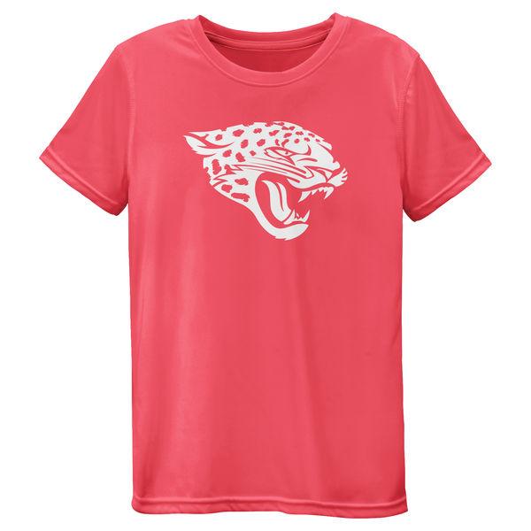 Jacksonville Jaguars Girls Youth Pink Neon Logo T-Shirt