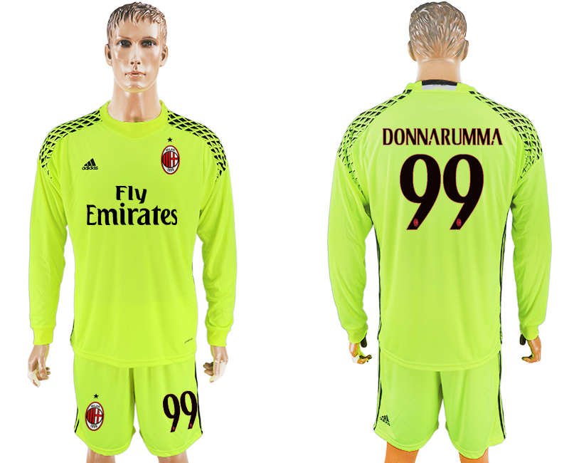2016-17 AC Milan 99 DONNARUMMA Fluorescent Green Goalkeeper Long Sleeve Soccer Jersey