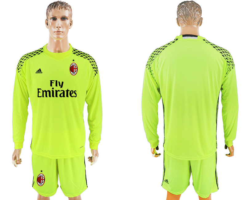 2016-17 AC Milan Fluorescent Green Goalkeeper Long Sleeve Soccer Jersey