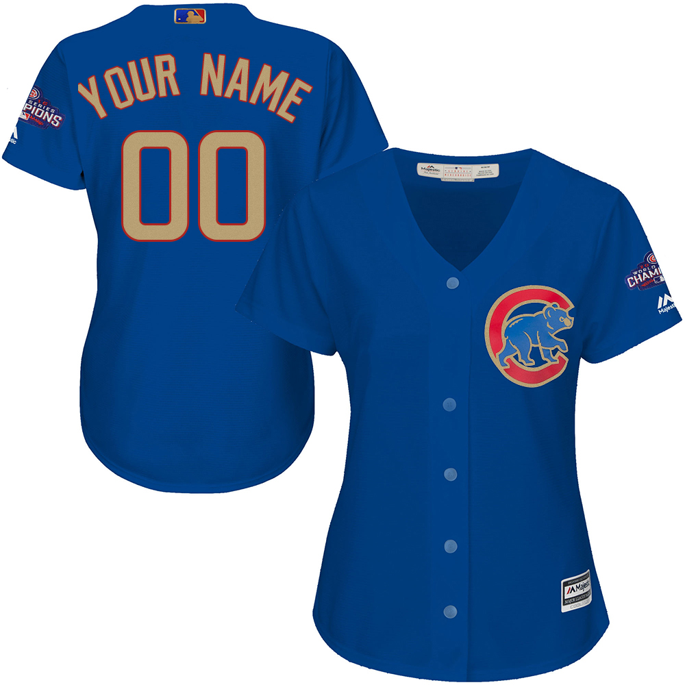 Cubs Blue Women World Series Champions Gold Program Cool Base Women's Customized Jersey