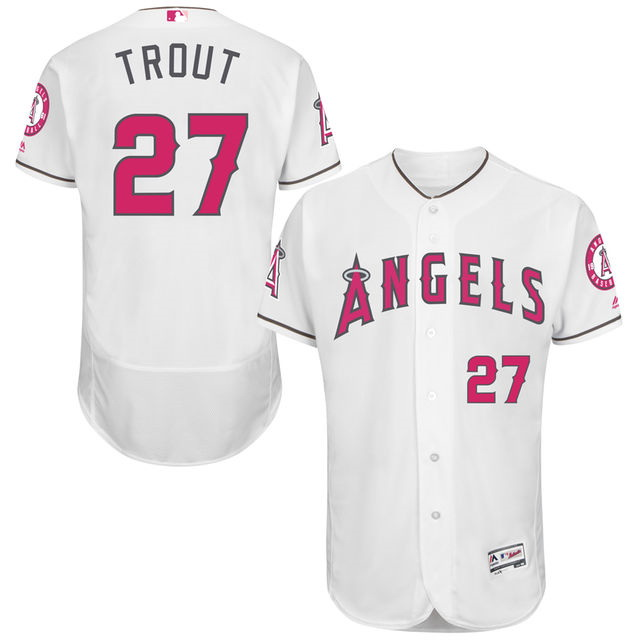 Angels 27 Mike Trout White 2016 Mother's Day Flexbase Jersey