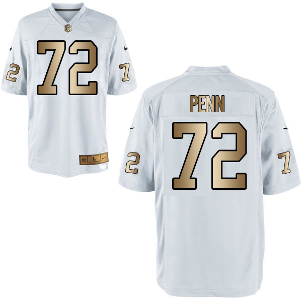 Nike Raiders 72 Donald Penn White Gold Game Jersey