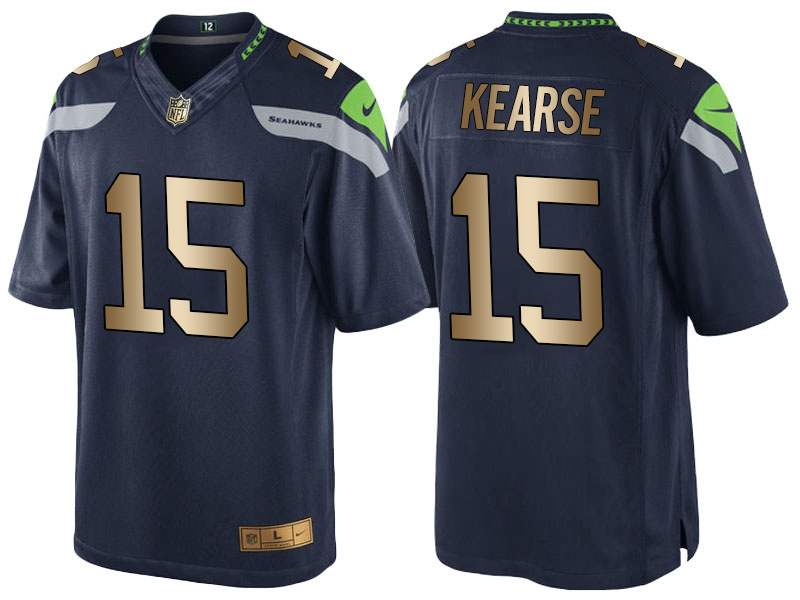 Nike Seahawks 15 Jermaine Kearse Navy Gold Game Jersey