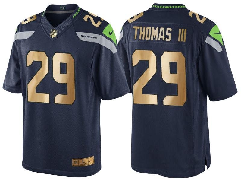 Nike Seahawks 29 Earl Thomas Navy Gold Game Jersey