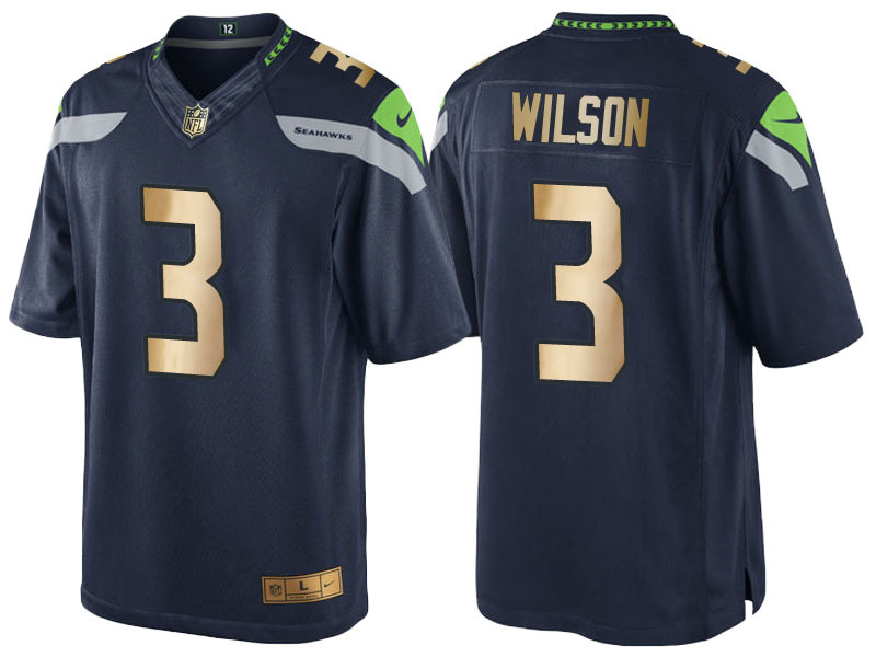 Nike Seahawks 3 Russell Wilson Navy Gold Game Jersey