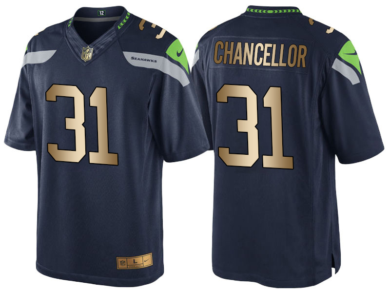 Nike Seahawks 31 Kam Chancellor Navy Gold Game Jersey