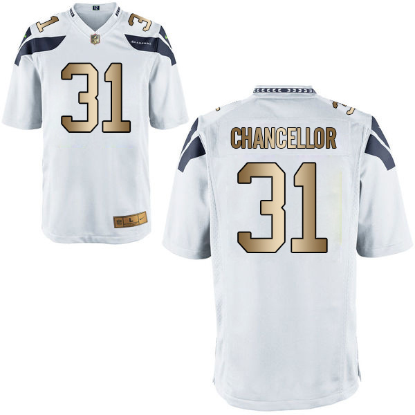 Nike Seahawks 31 Kam Chancellor White Gold Game Jersey