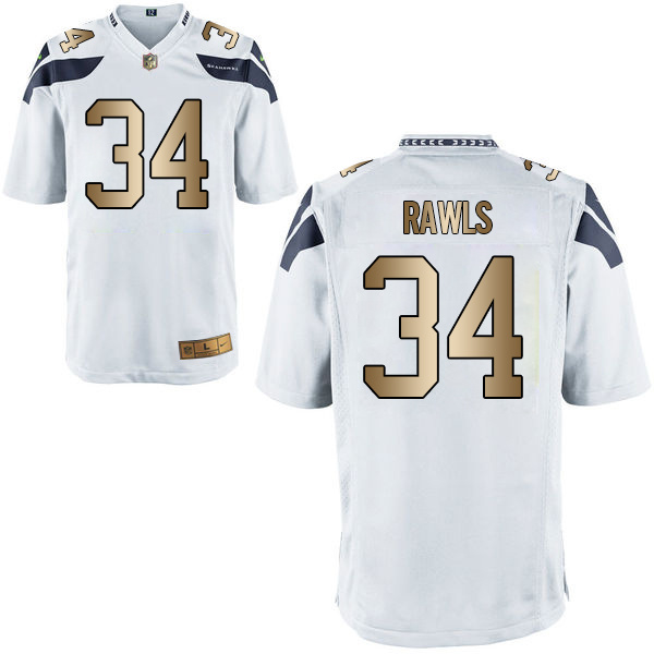 Nike Seahawks 34 Thomas Rawls White Gold Game Jersey