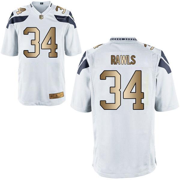 Nike Seahawks 34 Thomas Rawls White Gold Game Jersey