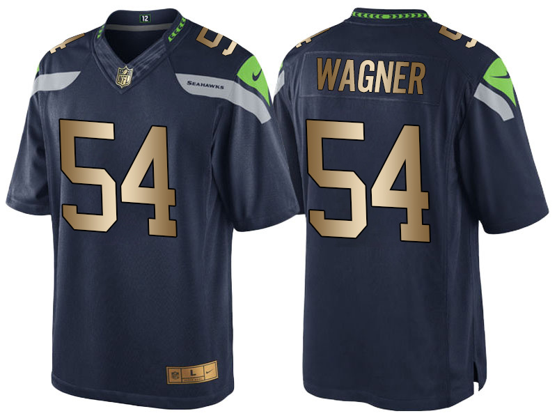 Nike Seahawks 54 Bobby Wagner Navy Gold Game Jersey