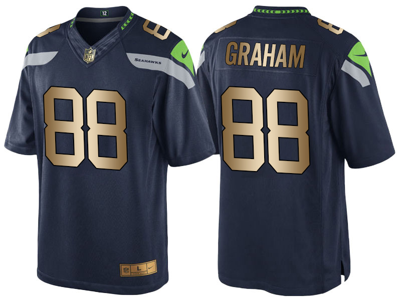 Nike Seahawks 88 Jimmy Graham Navy Gold Game Jersey