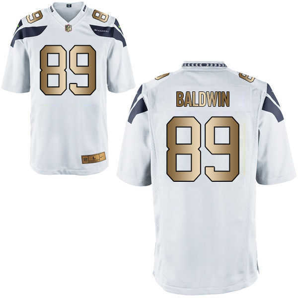 Nike Seahawks 89 Doug Baldwin White Gold Game Jersey