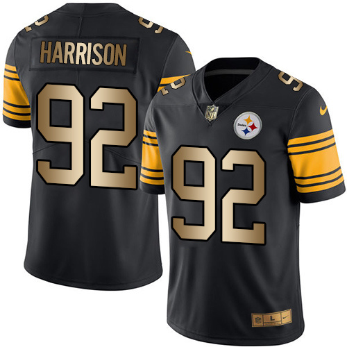Nike Steelers 92 James Harrison Black Gold Color Rush Limited Jersey