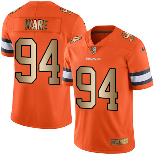 Nike Broncos 94 DeMarcus Ware Orange Gold Youth Color Rush Limited Jersey