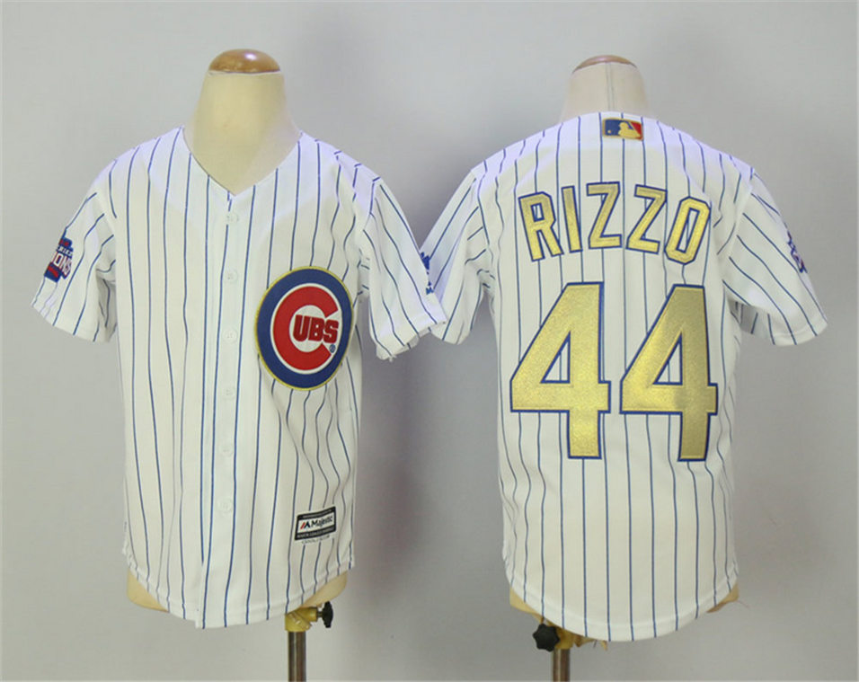 Cubs 44 Anthony Rizzo White World Series Champions Youth Gold Program Flexbase Jersey