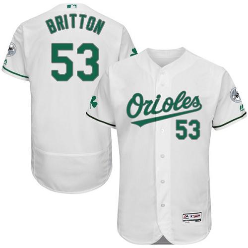 Orioles 53 Zach Britton White St. Patrick's Day Flexbase Jersey