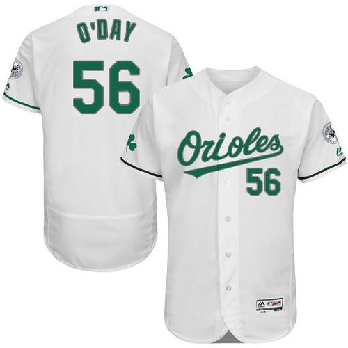 Orioles 56 Darren O'Day White St. Patrick's Day Flexbase Jersey