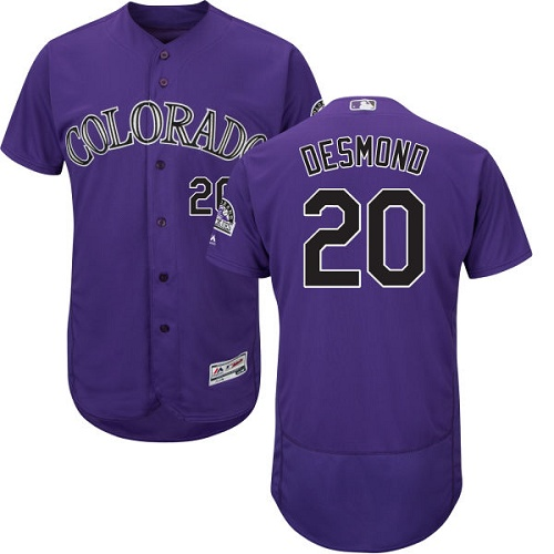 Rockies 20 Ian Desmond Purple Flexbase Jersey