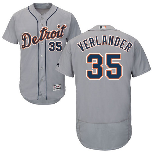 Tigers 35 Justin Verlander Gray Flexbase Jersey