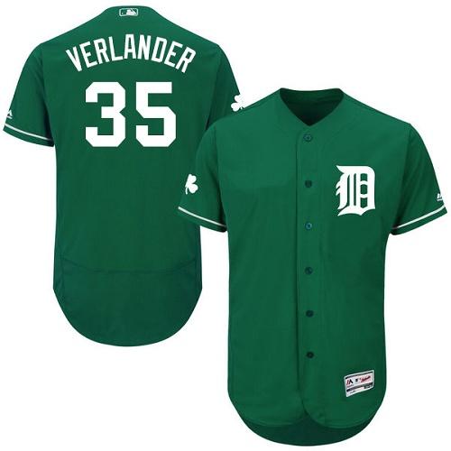 Tigers 35 Justin Verlander Green Celtic Flexbase Jersey