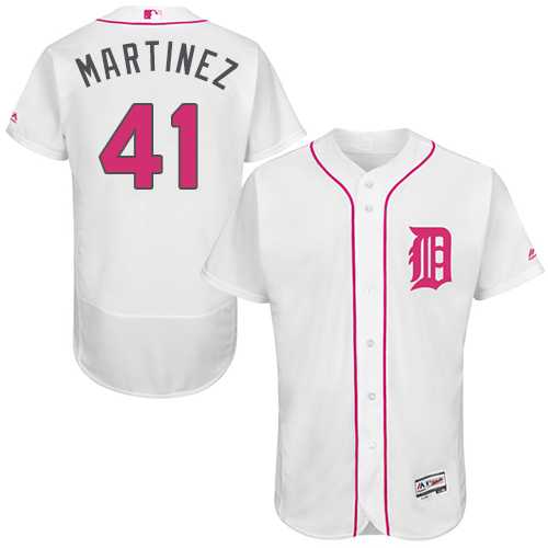 Tigers 41 Victor Martinez White Mother's Day Flexbase Jersey