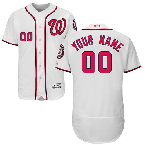 Washington Nationals White Men's Customized Flexbase Jersey