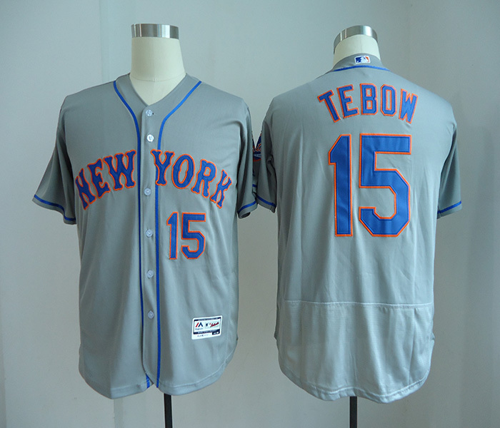 Mets 15 Tim Tebow Gray Flexbase Jersey