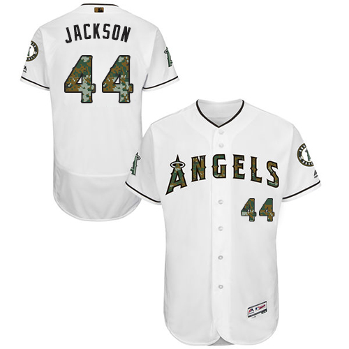 Angels 44 Reggie Jackson White Memorial Day Flexbase Jersey