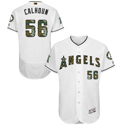 Angels 56 Kole Calhoun White Memorial Day Flexbase Jersey