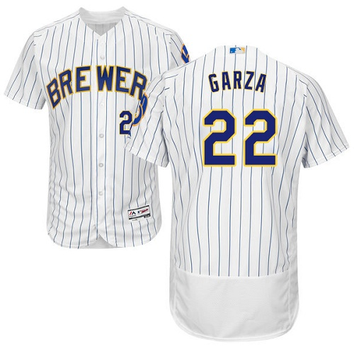 Brewers 22 Matt Garza White Flexbase Player Jersey