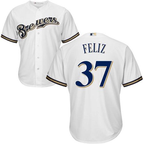 Brewers 37 Neftali Feliz White Cool Base Jersey