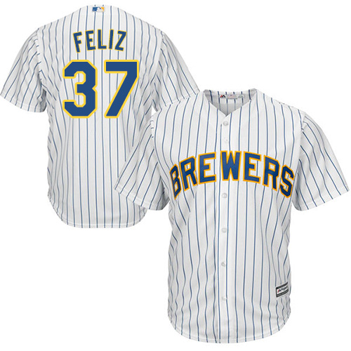 Brewers 37 Neftali Feliz White Cool Base Player Jersey