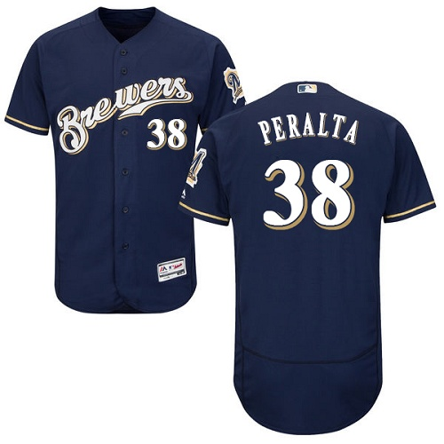 Brewers 38 Wily Peralta Navy Flexbase Jersey