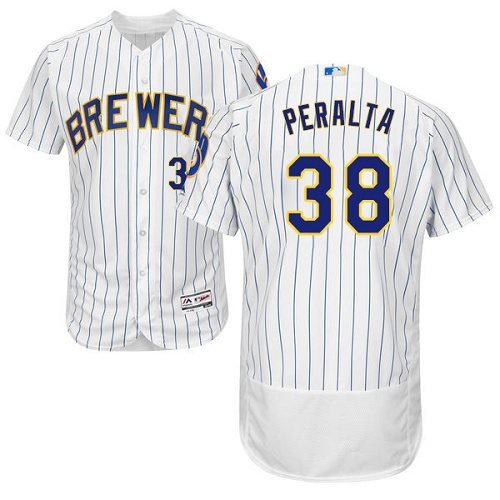 Brewers 38 Wily Peralta White Flexbase Player Jersey