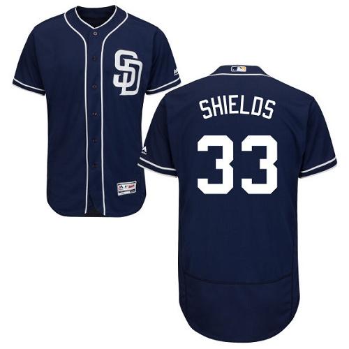 Padres 33 James Shields Navy Flexbase Jersey